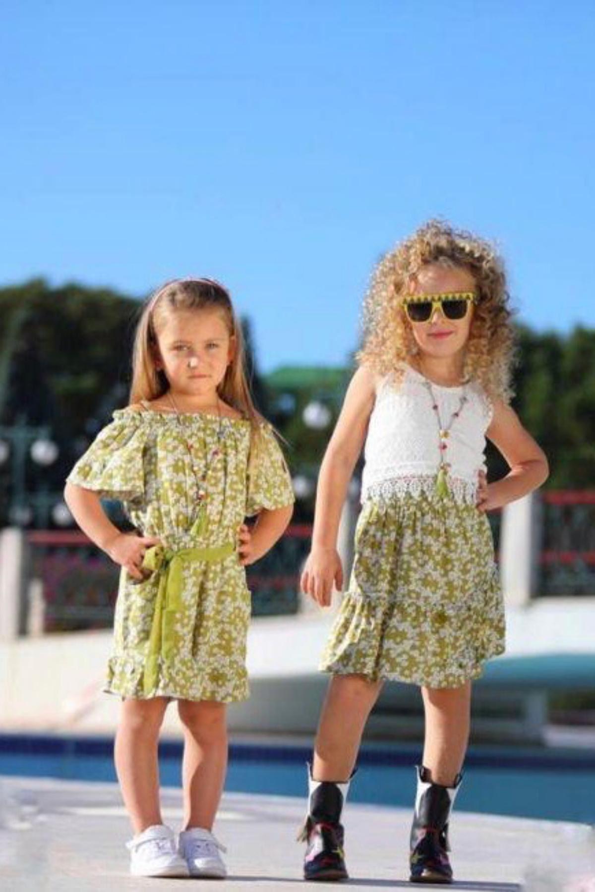 Dantel Detaylı Etekli Kız Çocuk Takım