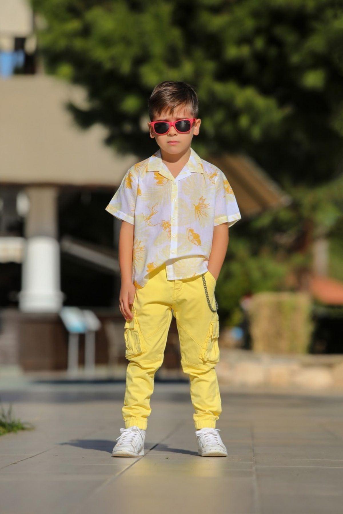 Flower Gömlek Erkek Çocuk Pantolonlu Takım