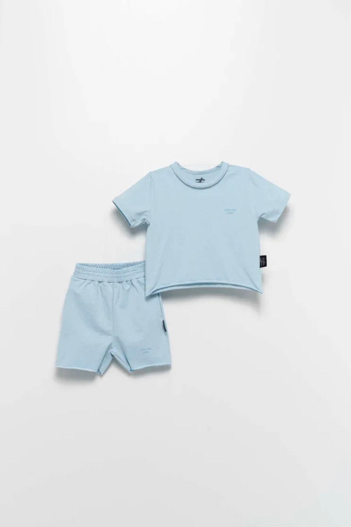 Moi Noi  1-5 Yaş 2'li Şortlu Takım-Bebe Mavisi
