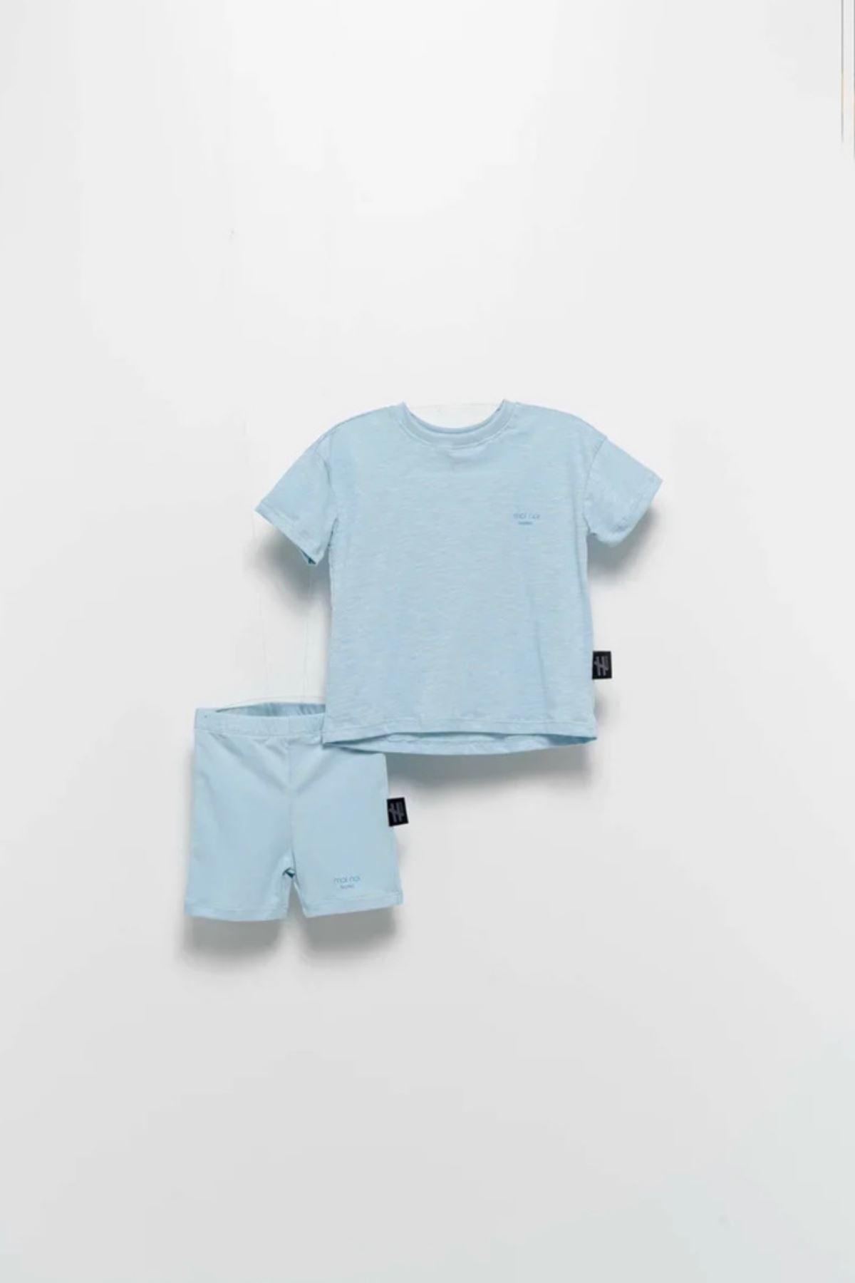 Moi Noi- 2-5 Yaş Basic Kız Çocuk Taytlı Takım- Bebe Mavisi