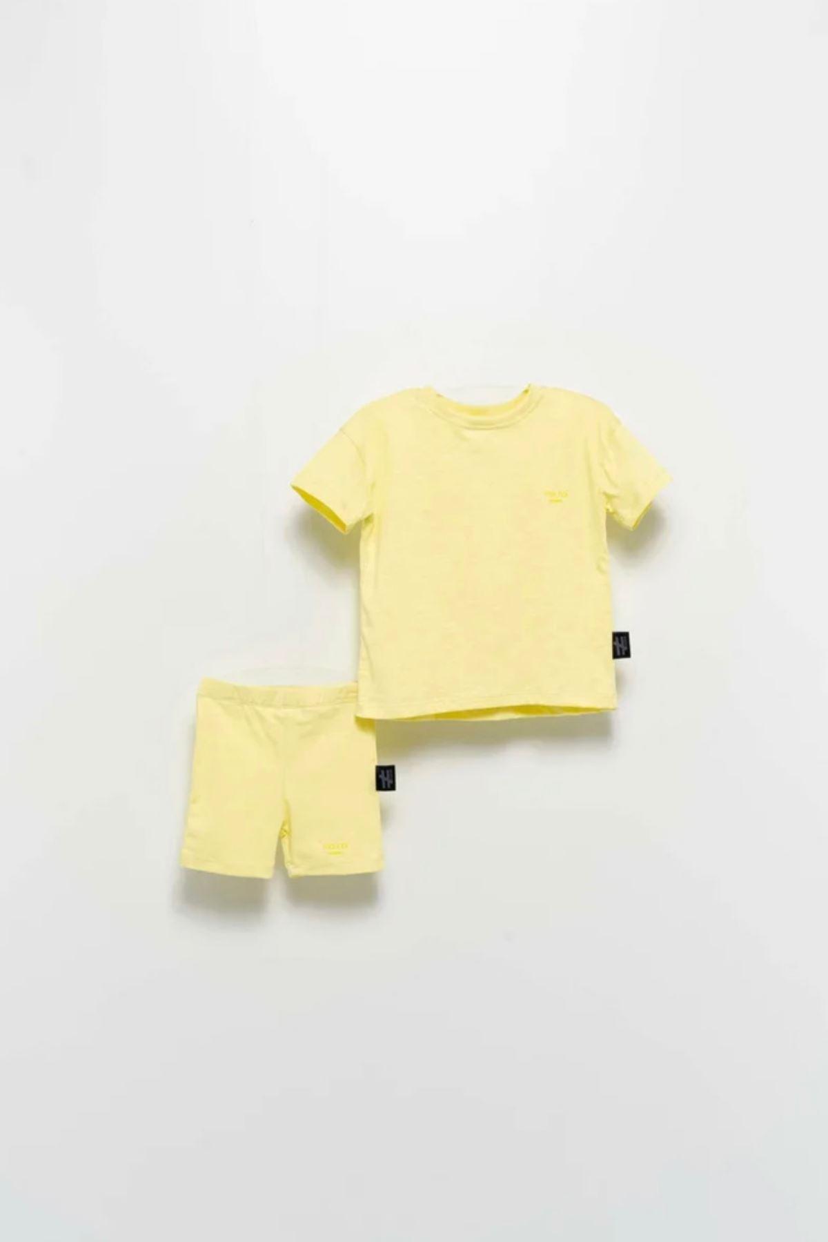 Moi Noi- 2-5 Yaş Basic Kız Çocuk Taytlı Takım- Sarı