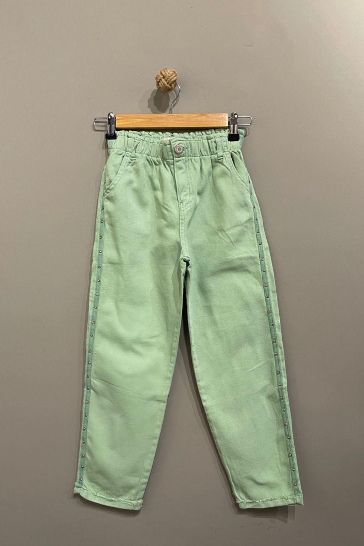 Taş Detaylı Belden Lastikli Kız Çocuk Pantolon