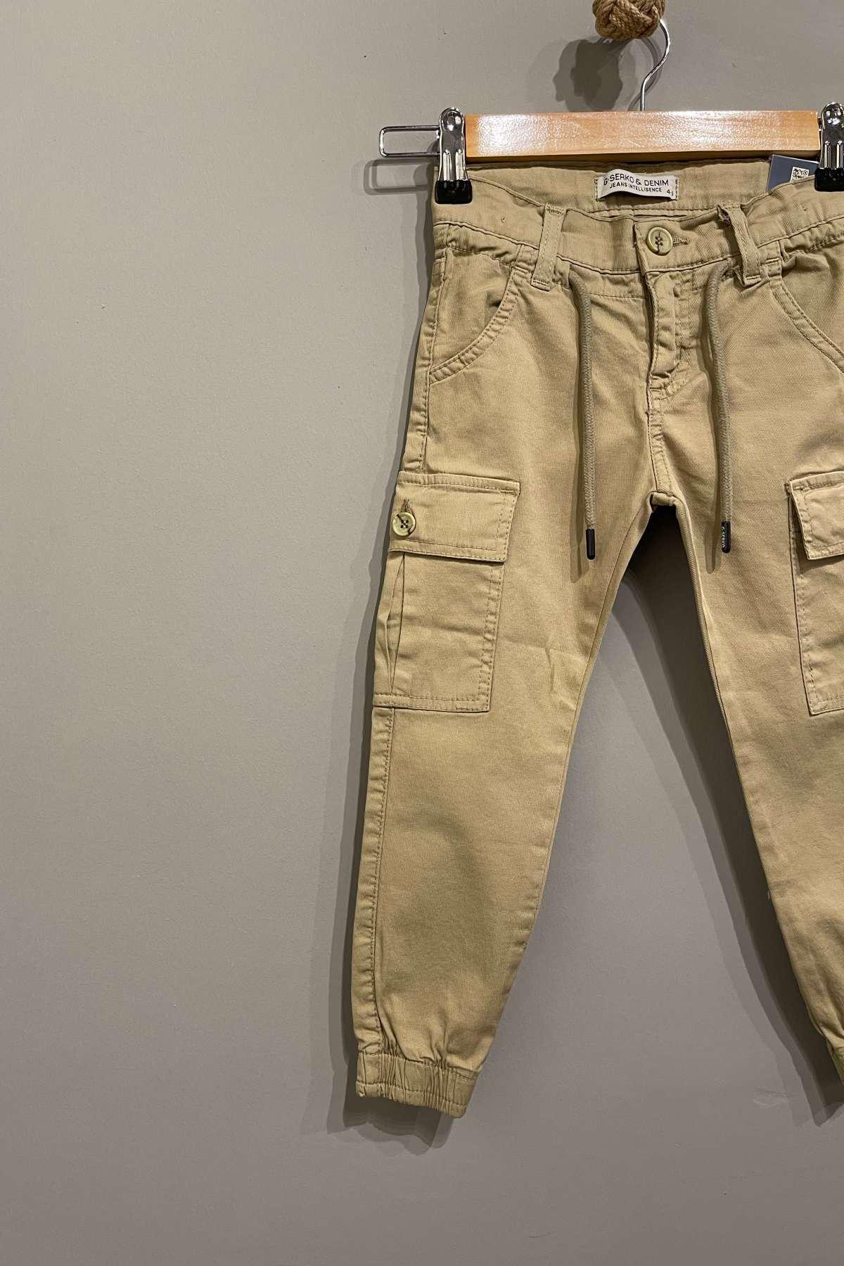 Kargo Cep Detaylı Erkek Çocuk Pantolon - Camel