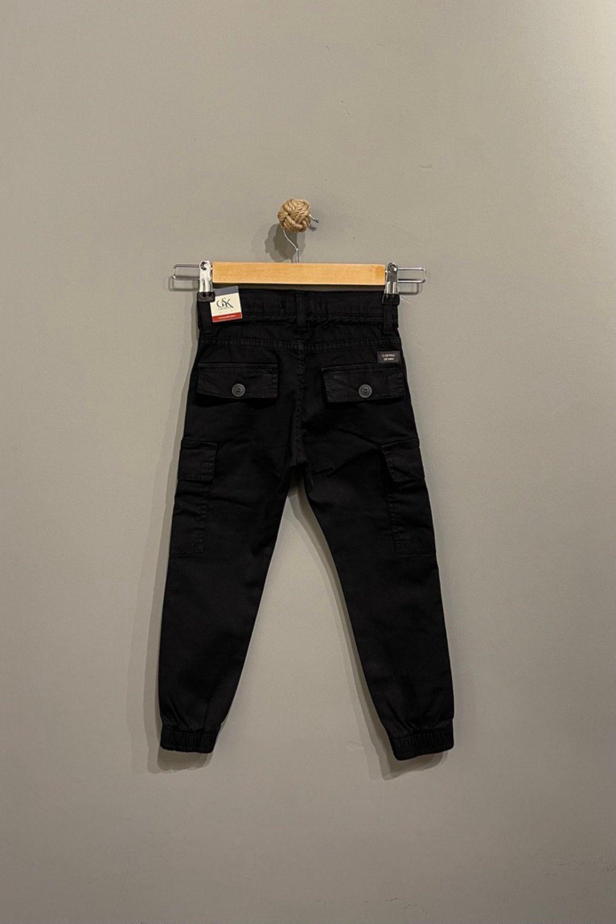 Kargo Cep Detaylı Erkek Çocuk Pantolon - Siyah