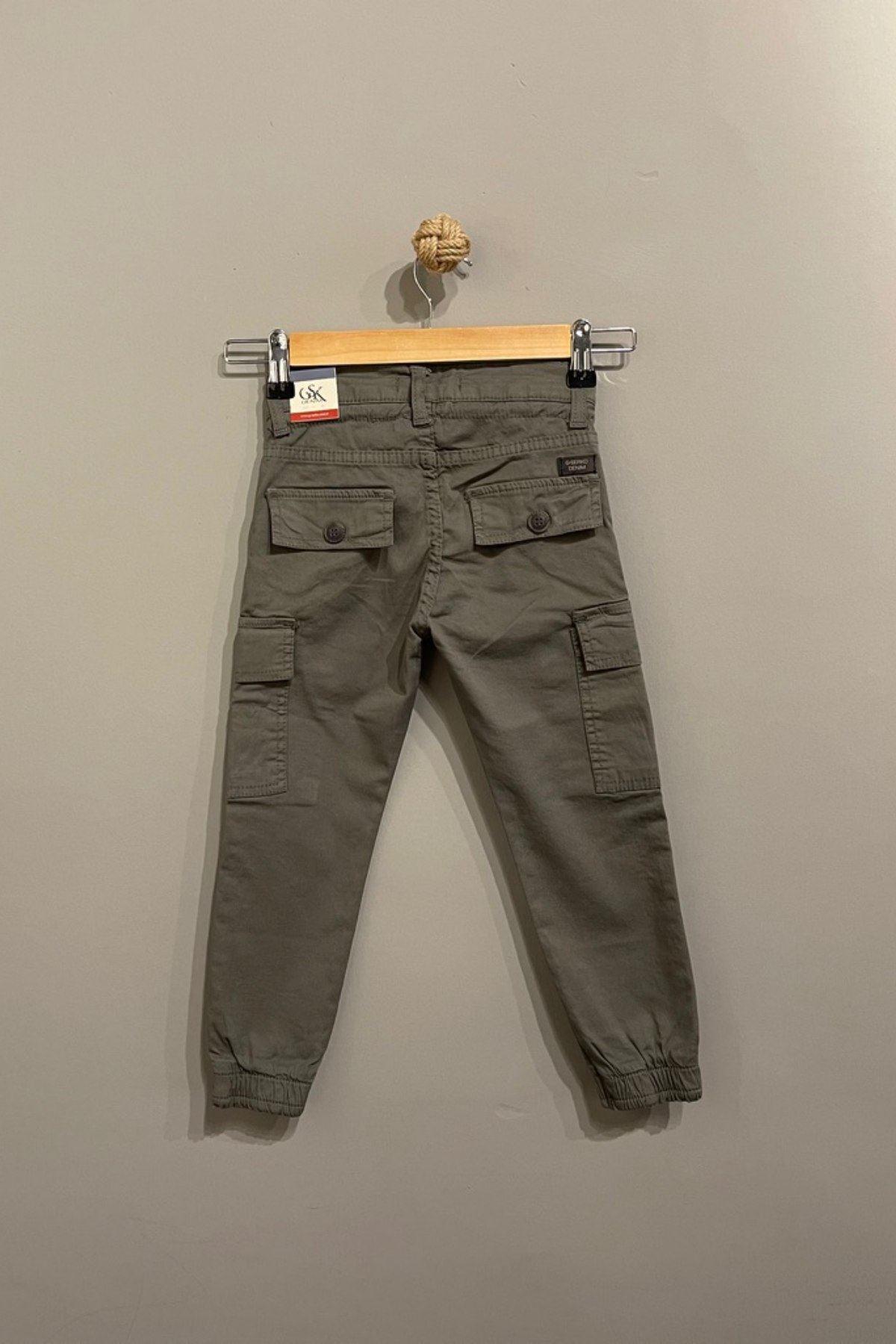 Kargo Cep Detaylı Erkek Çocuk Pantolon- Haki