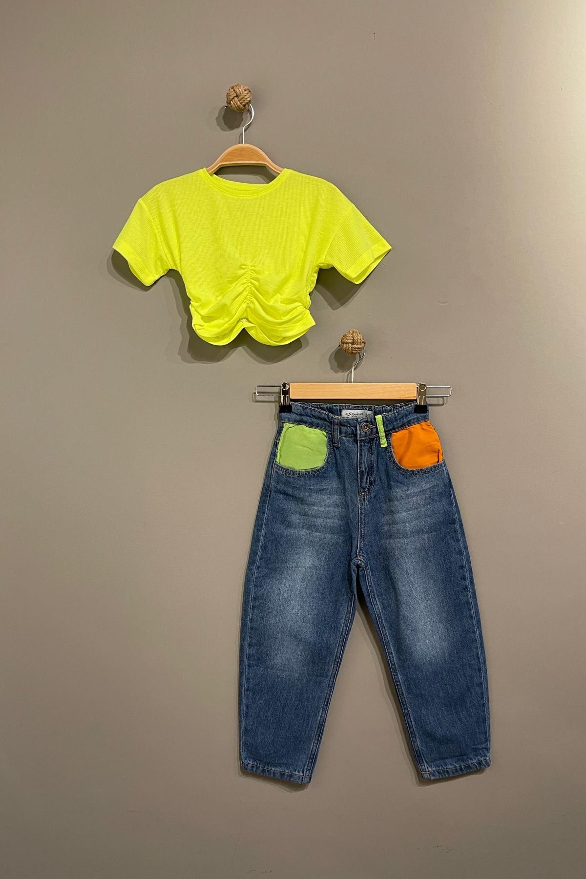 Trend Neon Kot Pantolonlu Takım - Sarı