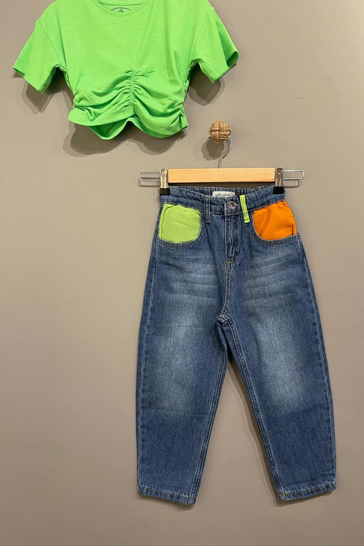 Trend Neon Kot Pantolonlu Takım - Yeşil