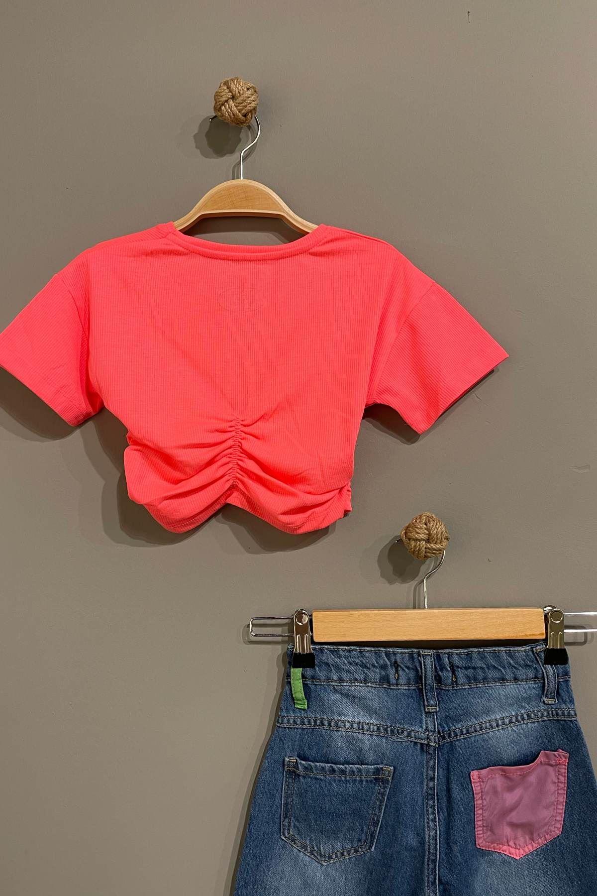 Trend Neon Kot Pantolonlu Takım - Pembe