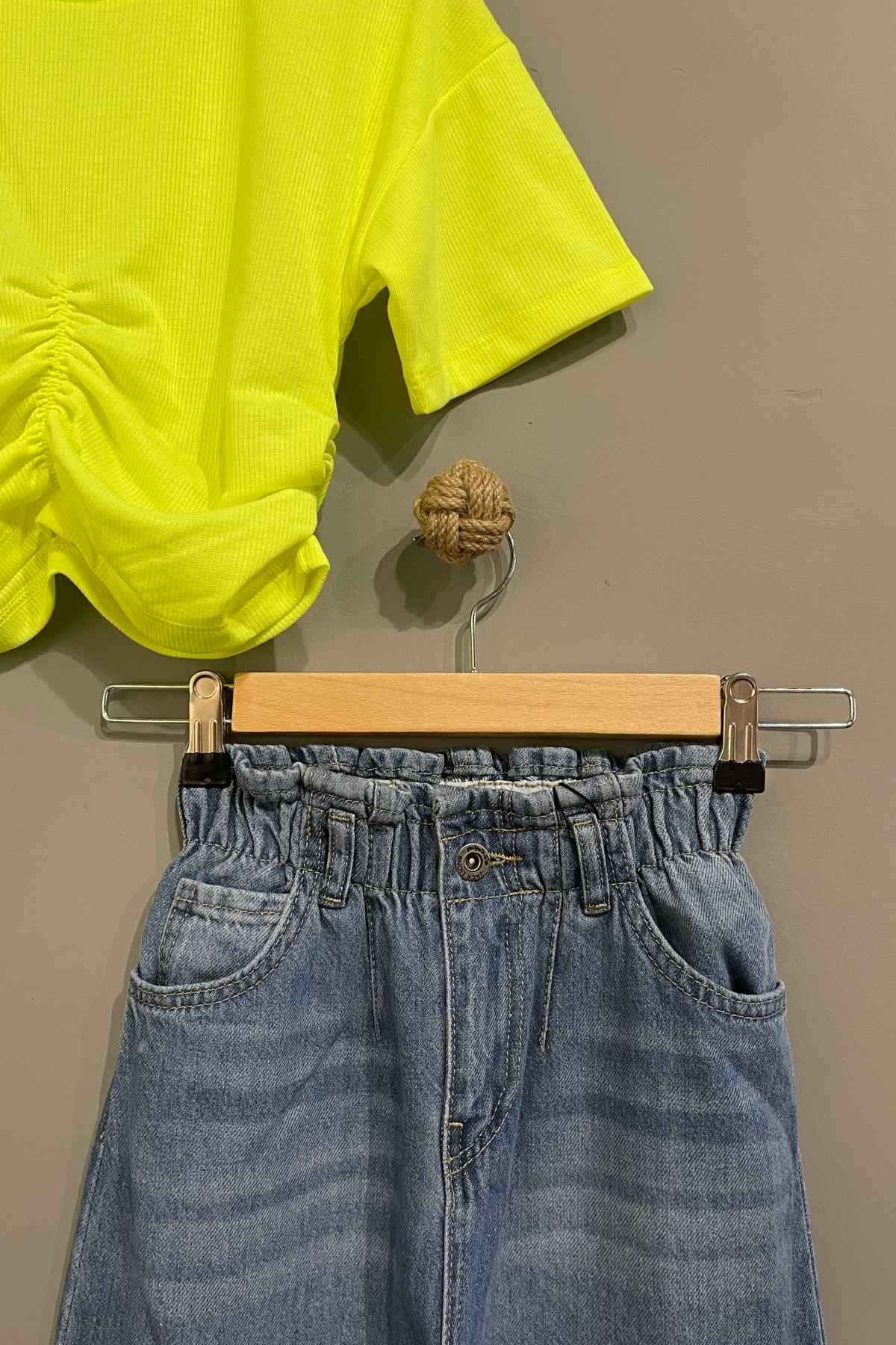 Yüksek Bel Kot Pantolonlu Takım - Sarı