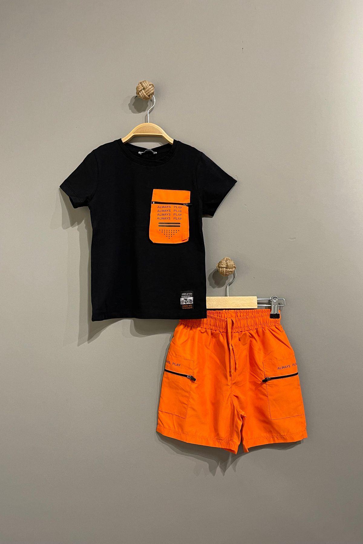 Mikro Erkek Çocuk Moda Takım - Turuncu