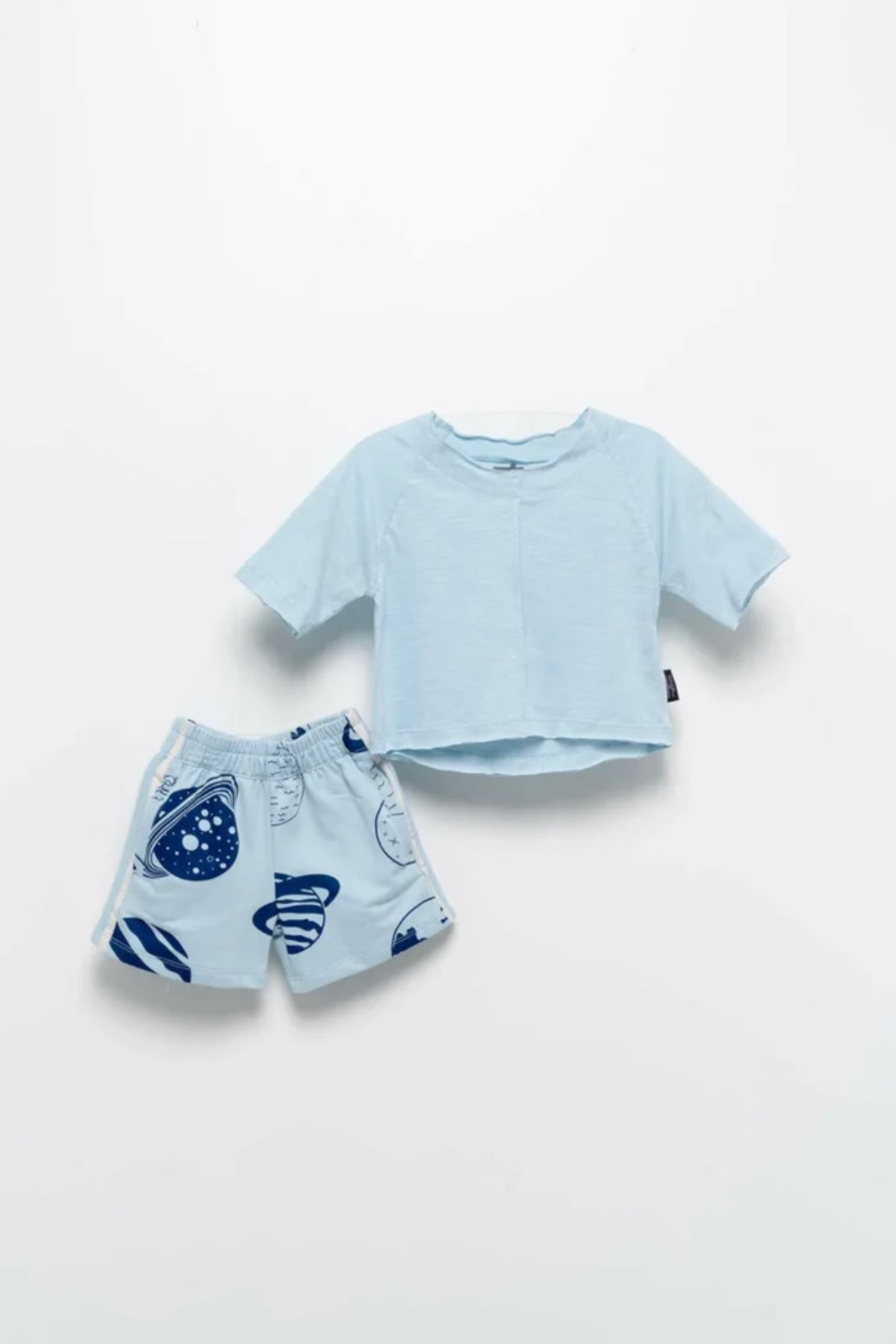 Moi Noi 2-5 Yaş Basic Unisex Şortlu Takım- Bebe Mavisi