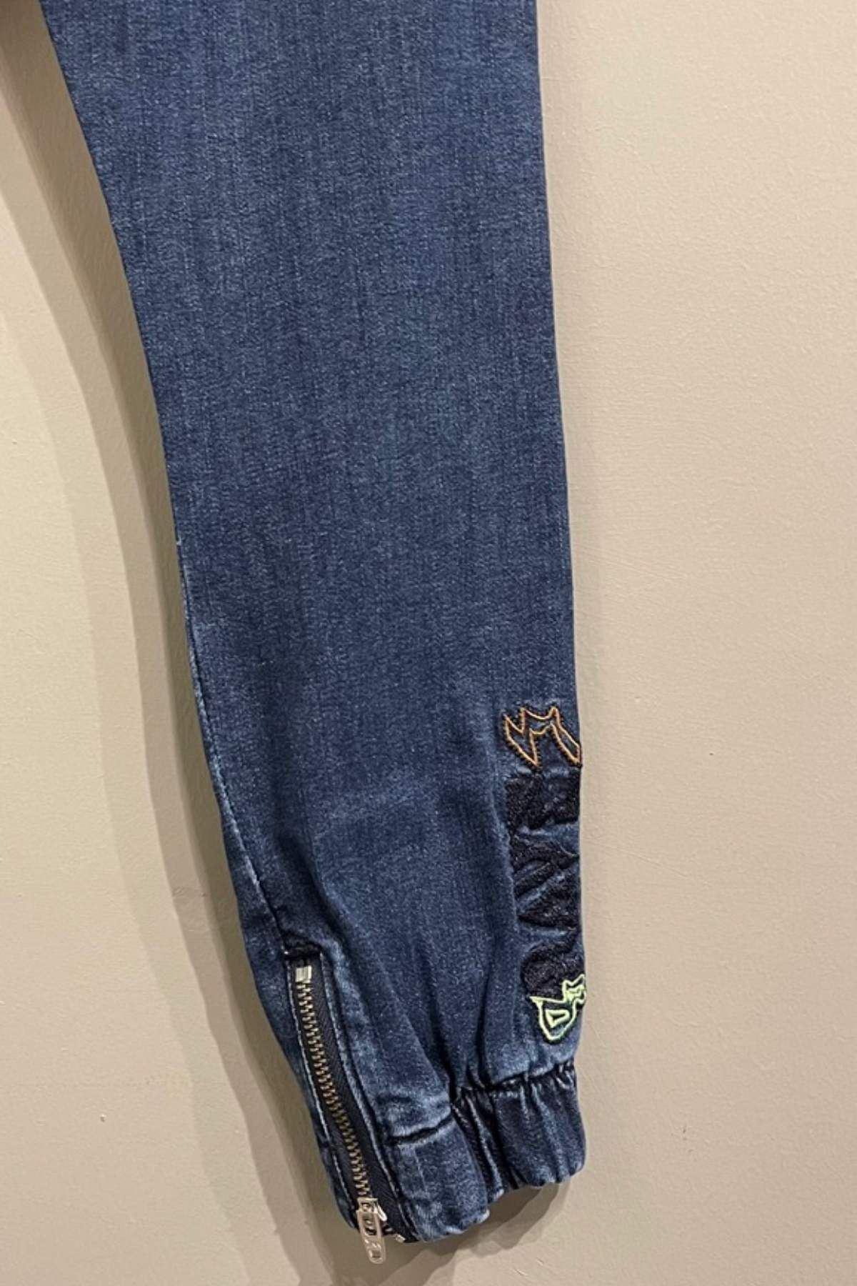 Yazı Detaylı Erkek Çocuk Kot Pantolon