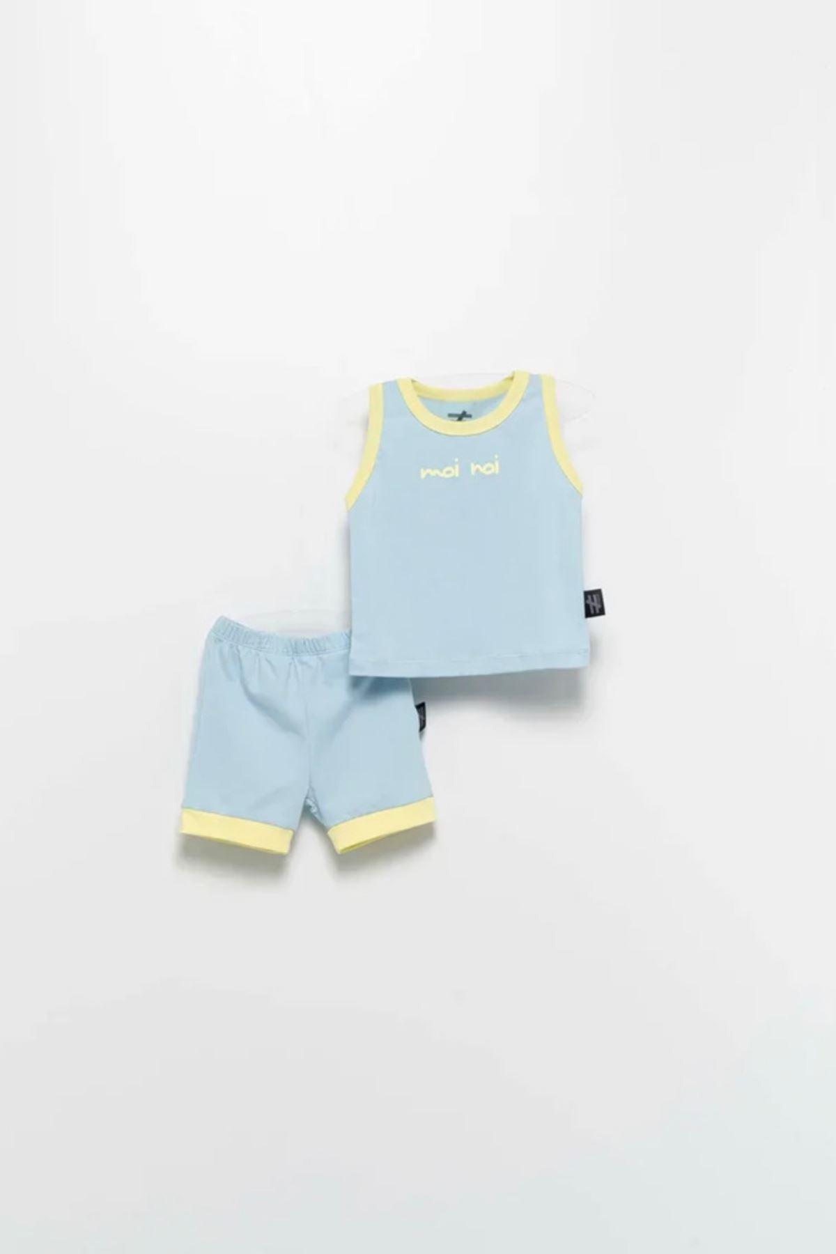 Moi Noi 2-5 Yaş Unisex Şortlu Takım - Bebe Mavisi