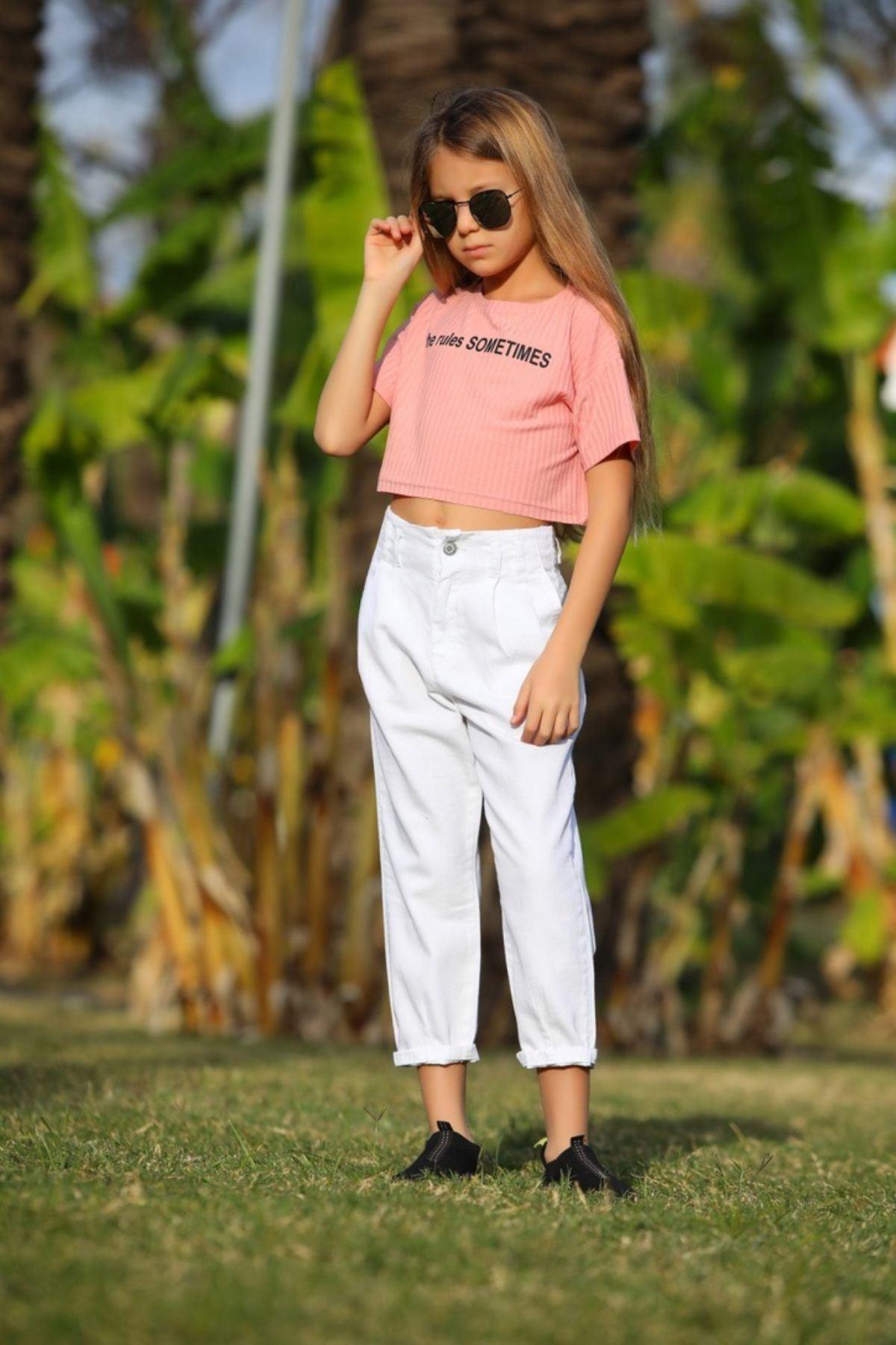 Kız Çocuk Boyfriend Beyaz Pantolon