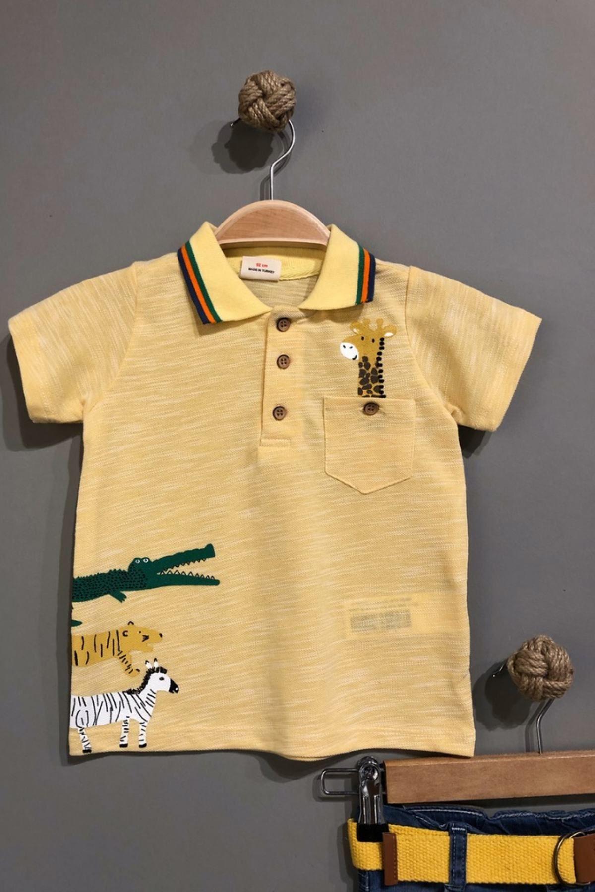 Sevimli Zürafa Figürlü 1-5 Yaş Erkek Çocuk Takım -Sarı