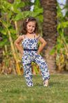 Çiçek Desen Kız Çocuk Tulum- Laci