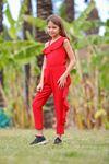 Volanlı Omuz Detaylı Kız Çocuk Tulum- Kırmızı